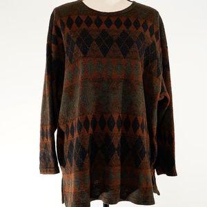 Cozy Brown Aztec Print Sweater Size